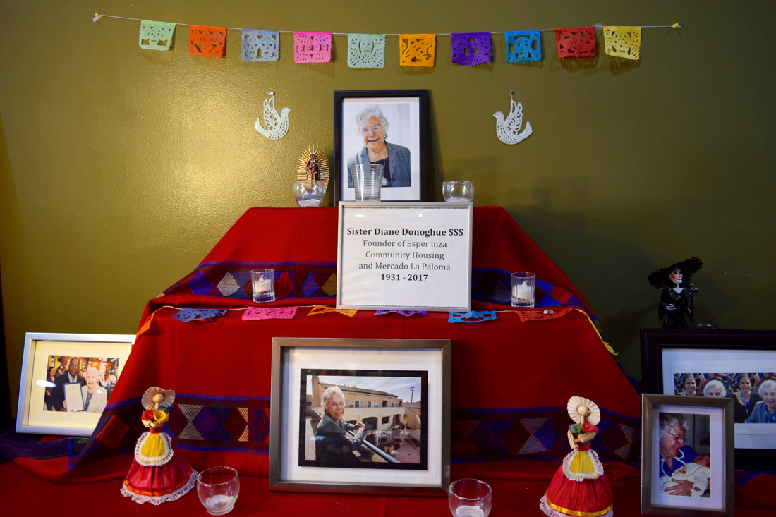 Altar tribute to Sister Diane C. Donoghue, founder of Esperanza Community Housing and Mercado La Paloma