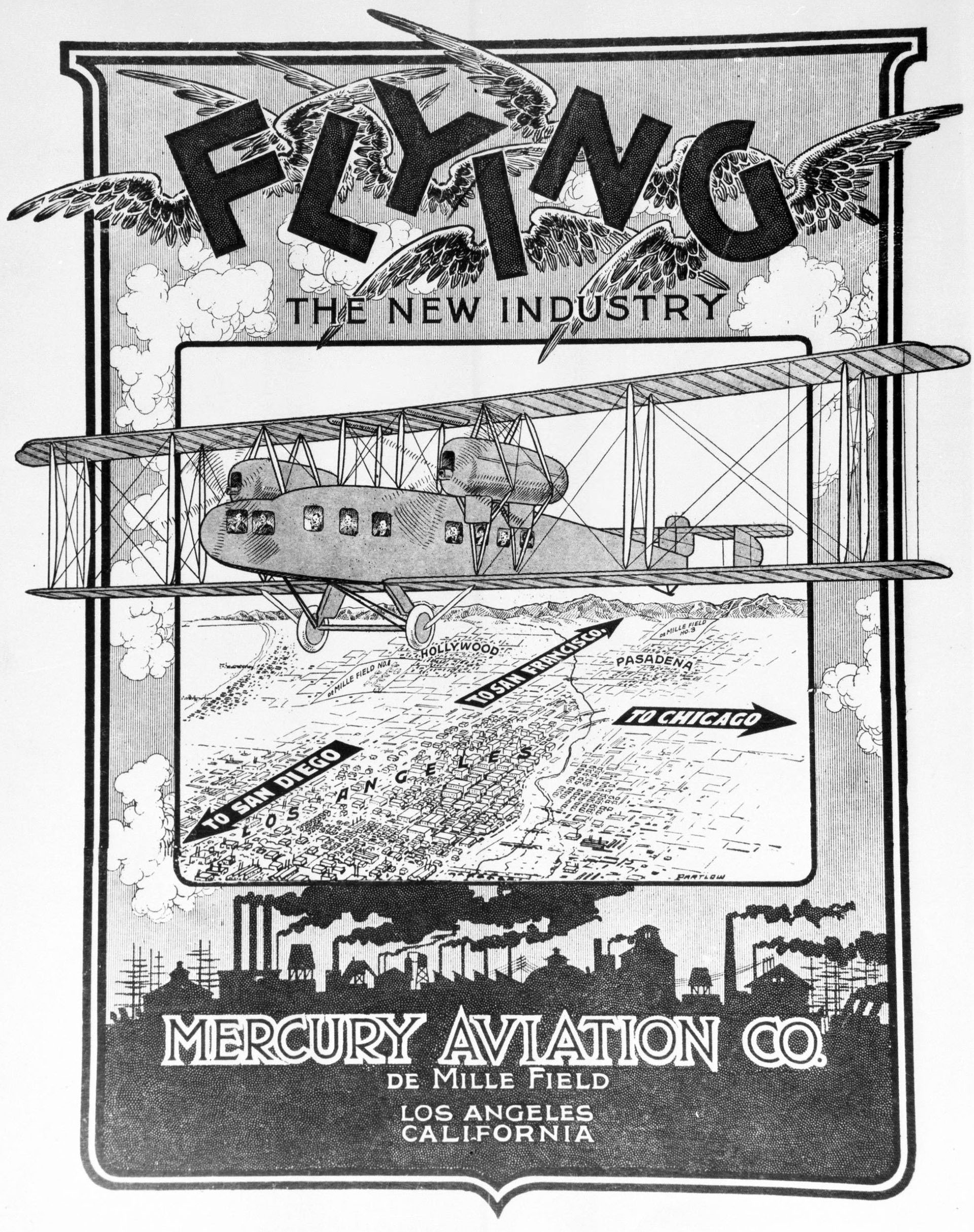 Advertisement for Mercury Aviation Company, located at DeMille Field, ca.1925