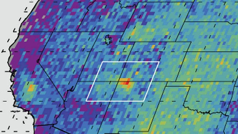 A methane hot spot over the Four Corners area | Image: NASA