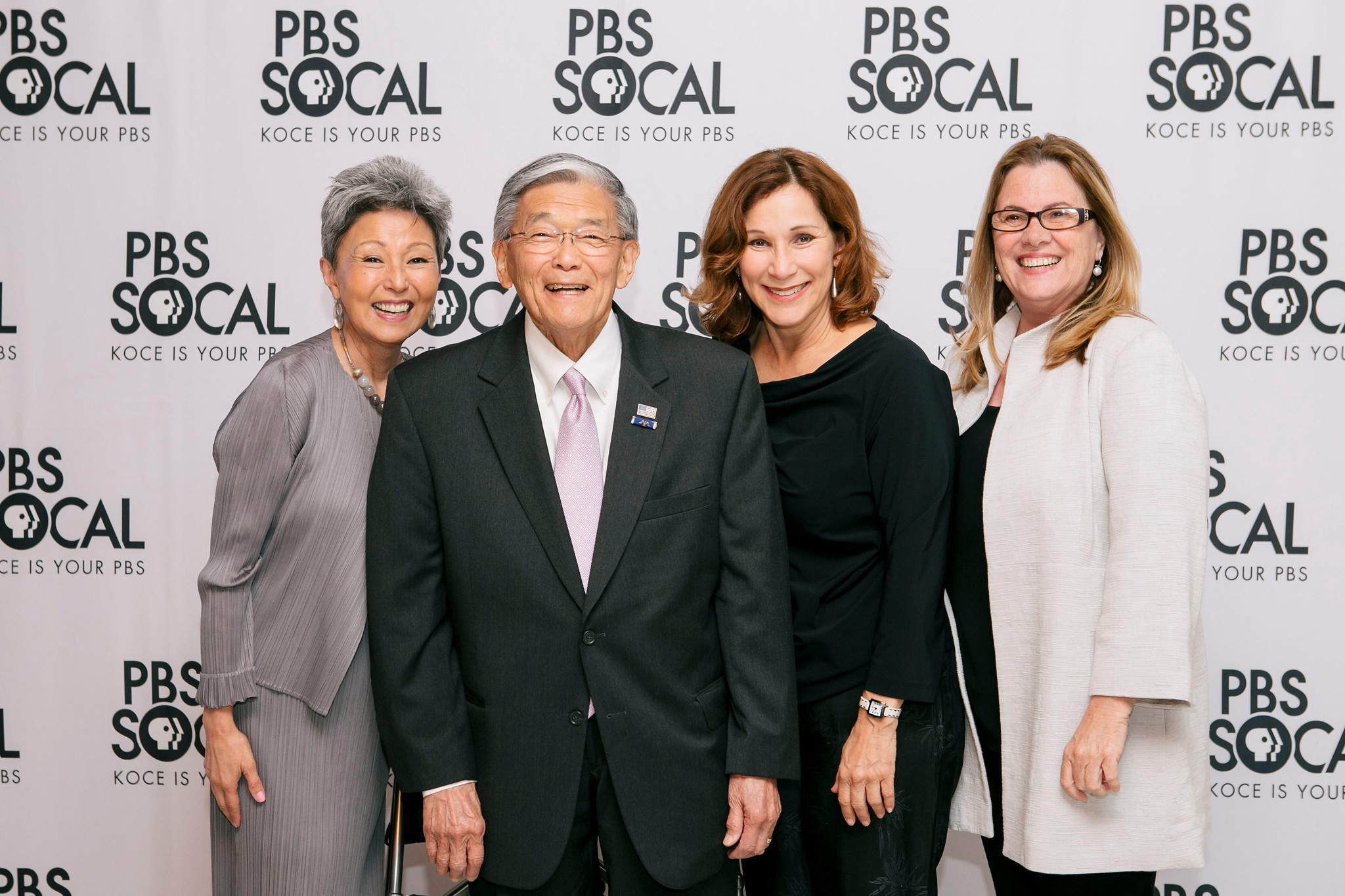Co-producer Debra Nakatomi, former U.S Secretary of Transportation Secretary Norman Y. Mineta, Award-winning journalist and former KCET News Anchor Val Zavala  and President and CEO of the Japanese American National Museum Ann Burroughs