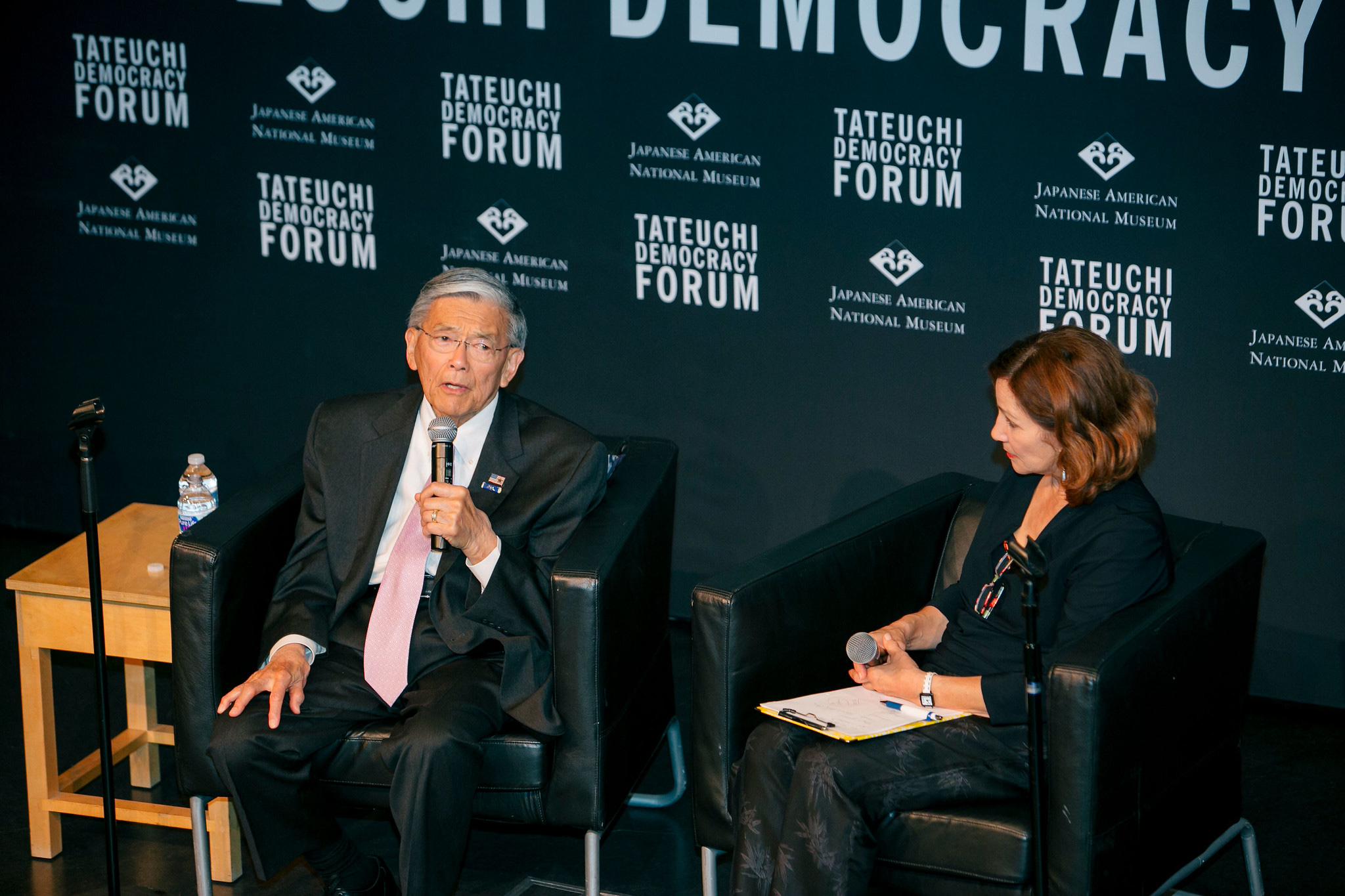 Former U.S Secretary of Transportation Secretary Norman Y. Mineta participates in a conversation with Emmy® and Peabody Award-winning journalist and former KCET News Anchor Val Zavala