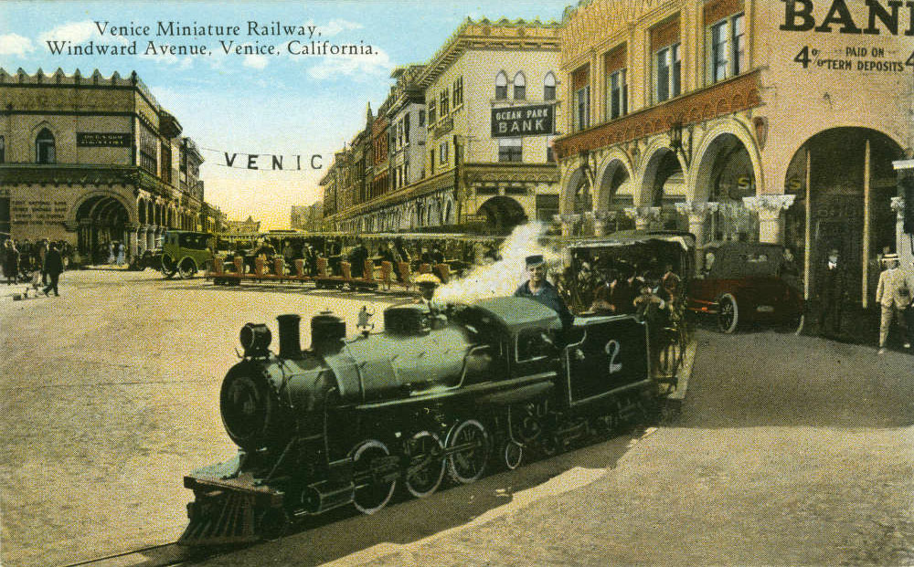 In addition to gondolas, a miniature railroad provided transportation through Abbot Kinney's Venice of America development. Courtesy of the Werner Von Boltenstern Postcard Collection, Loyola Marymount University Library.