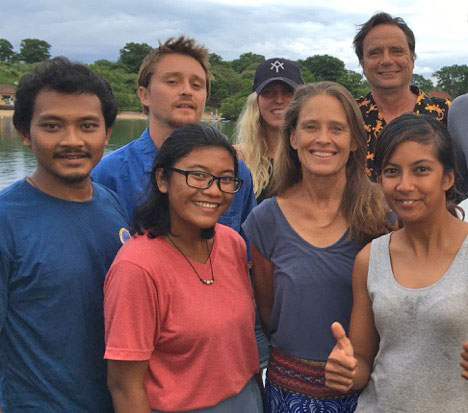 "The Mir crew in February 2017. Front: Abri Wijaya, Luisa Praskah, Gaie Alling, Nadia Low. Back: Christopher Dolphin, Caroline Travers, Mark ""Laser"" Van Thillo. Missing in photo: Carol Milner. 