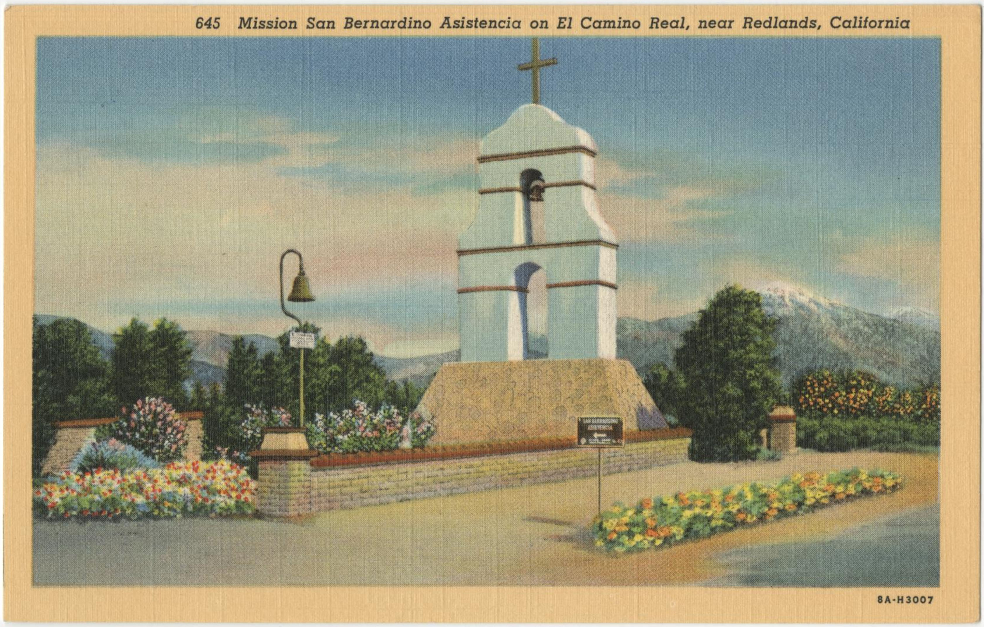 1938 postcard of Mission San Bernardino Asistencia on El Camino Real, near Redlands, California