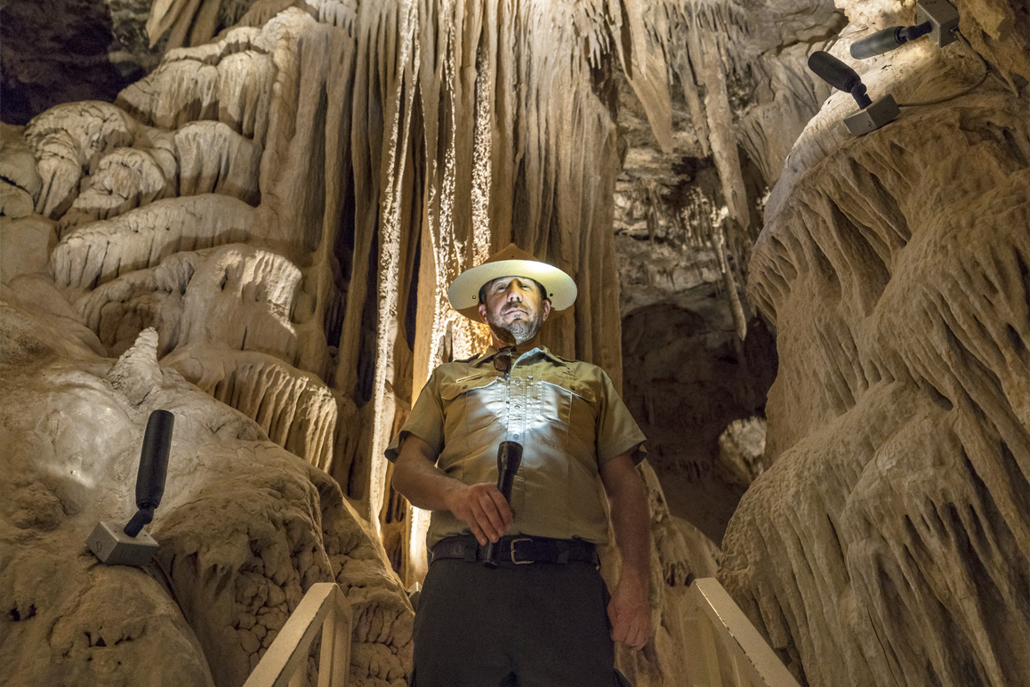 Above: Keeper of the Cave: Interpretive Ranger Andrew Fitzpatrick serves as tour guide and manager for the Providence Mountain State Recreation Area.| Photo: Kim Stringfellow.