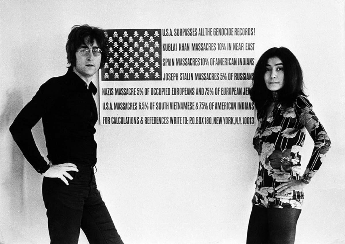 John Lennon & Yoko Ono taken outside the white room of their home in Tittenhurst, Ascot, UK , 1971 | Courtesy of Modern Rocks Gallery