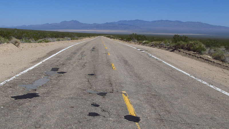Potholes cold-patched in the Mojave Preserve