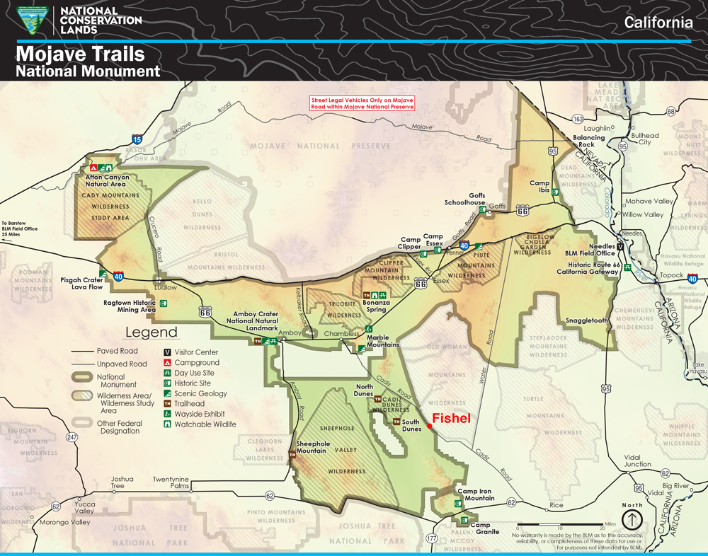 This official map of Mojave Trails National Monument shows the wilderness areas near the Fishel site. | Map: BLM, With Fishel location added by KCET