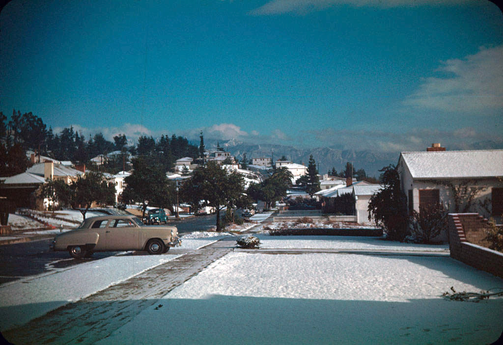 The San Gabriel community of Monterey Park after a 1949 snowstorm