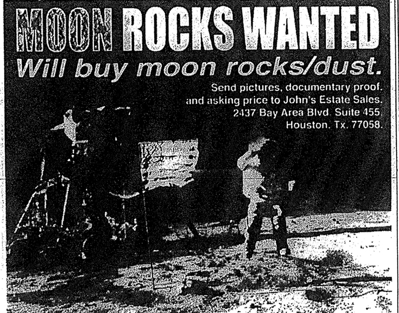 Moon Rocks Wanted ad in USA Today. | Courtesy of Joseph Gutheinz