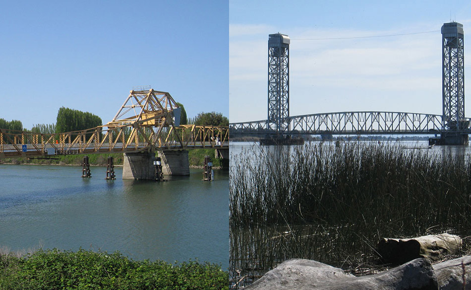 Split-screen Image of Bridges