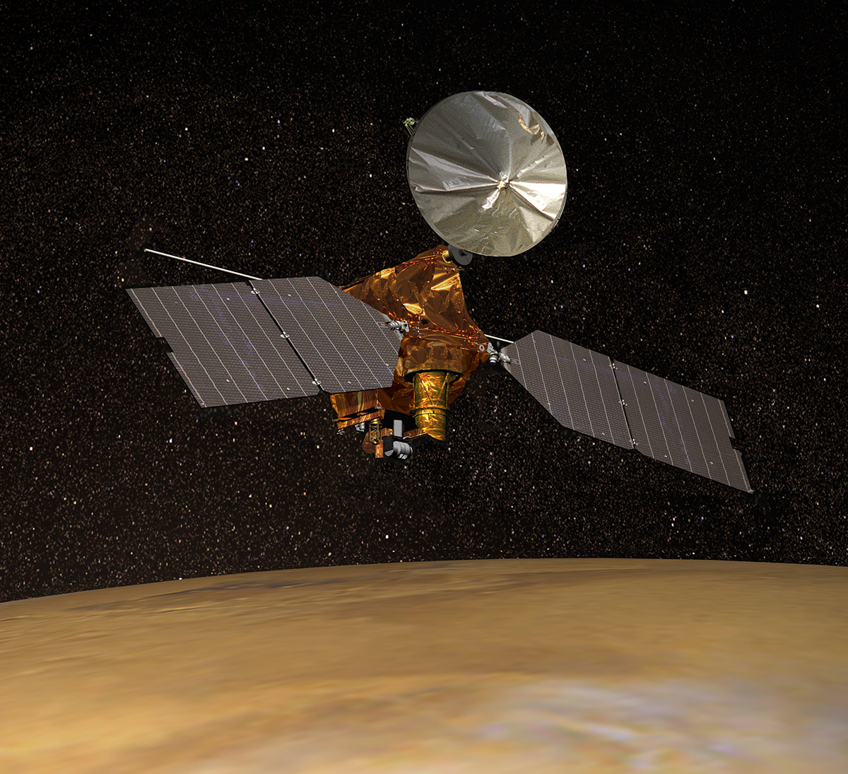 Artist's concept of NASA's Mars Reconnaissance Orbiter, depicted above Mars. | Wikimedia Commons/NASA/JPL/Corby Waste