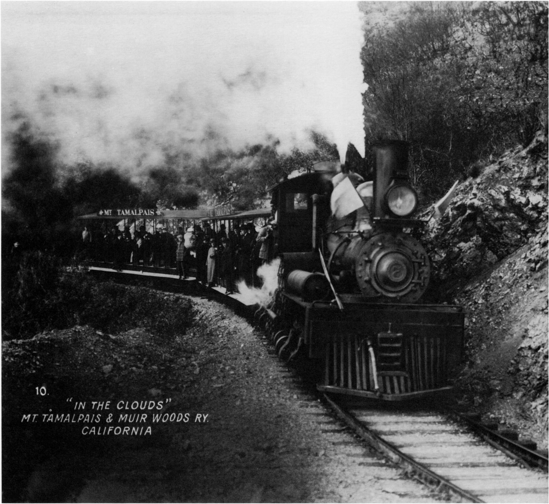 The winding track of the Mt. Tamalpais Railway thrilled  Bay Area residents on a day's outing-and silent movie goers who enjoyed the viewpoint of the camera mounted on the lead car. California Historical Society, San Francisco