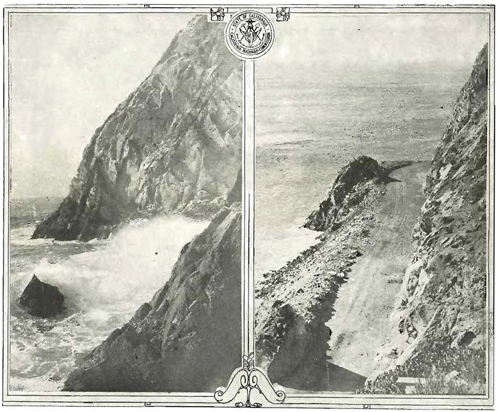 The coast highway's original alignment bent around Point Mugu where waves once lashed at its stony face. Photo from the October 1924 issue of California Highways, courtesy of the Metro Transportation Library and Archive.