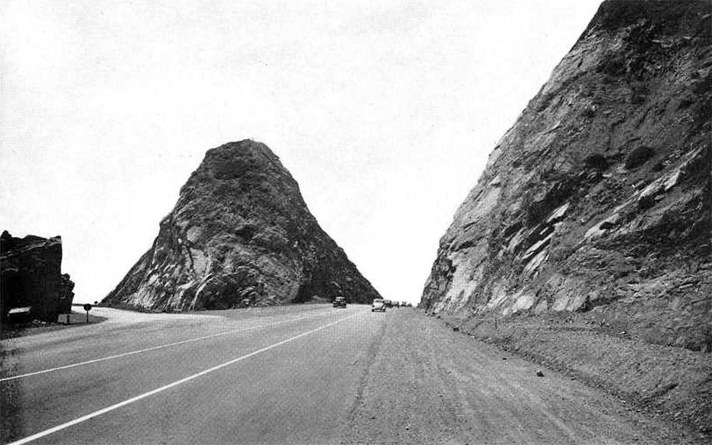 The Pacific Coast Highway now slices directly through Point Mugu. Photo from the October 1940 issue of California Highways and Public Works, courtesy of the Metro Transportation Library and Archive.