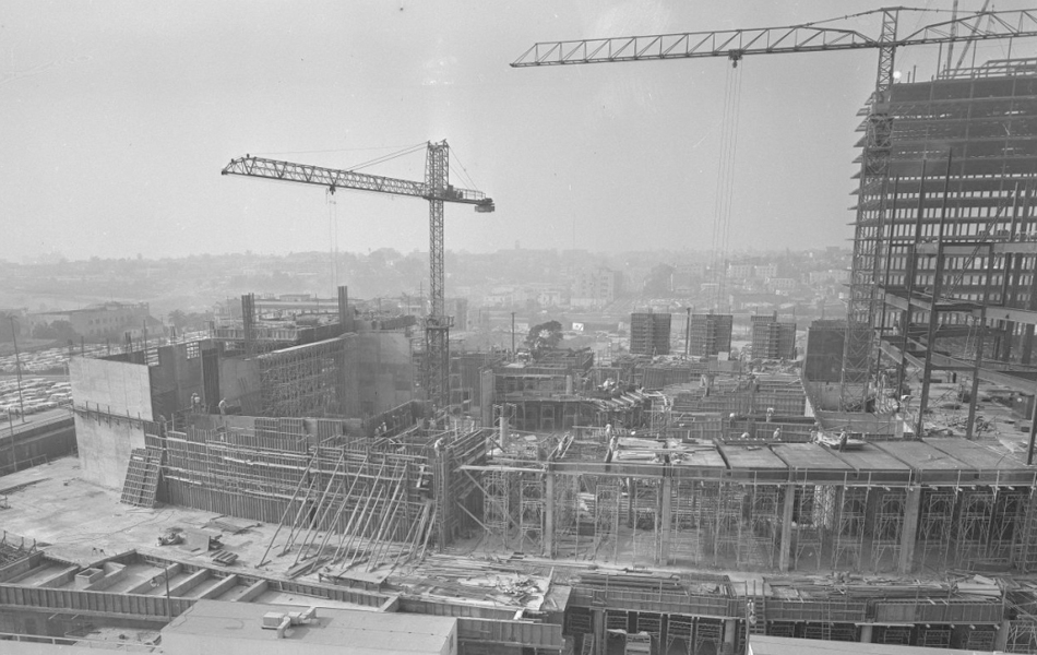 Construction of the Los Angeles Music Center's Dorothy Chandler Pavilion in 1962