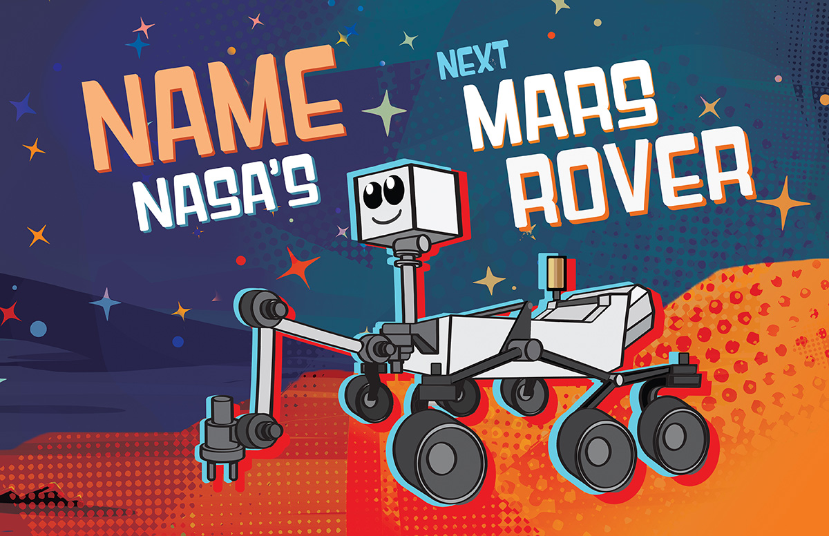 Name NASA's next Mars rover cartoon. | NASA/JPL-Caltech