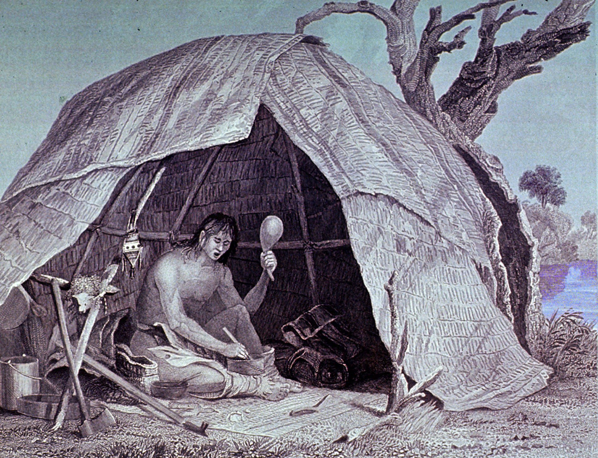 Native American Healing. Sweat lodges, herbal remedies, and shamanic ritual treated the diseases of pre-colonial Los Angeles. Photograph courtesy of U.S. National Library of Medicine Image