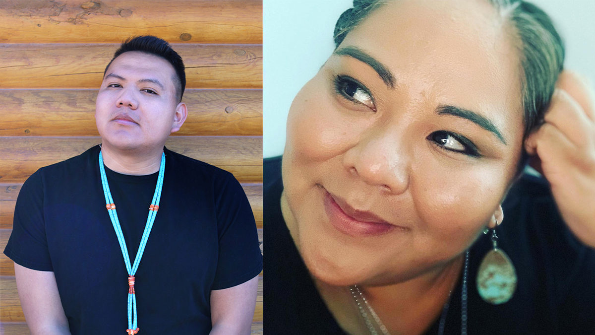 Native American poets Jake Skeets on the left and Rowie Shebala on the right. | Quanah Yazzie (L) and Rowie Shebala (R)