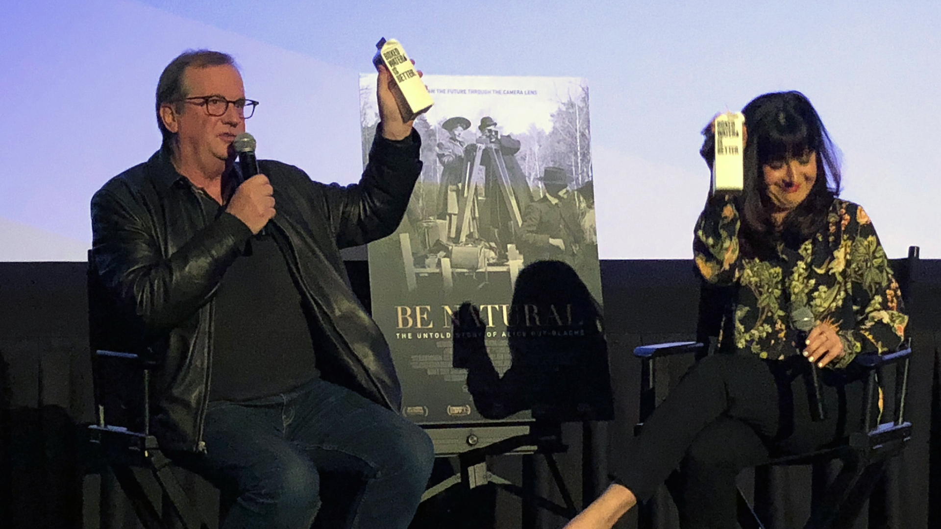 "Cinema Series host Pete Hammond and Writer/Director/Producer Pamela M. Green participate in a Q&A discussion after a screening of ""Be Natural: The Untold Story of Alice Guy-Blaché"""