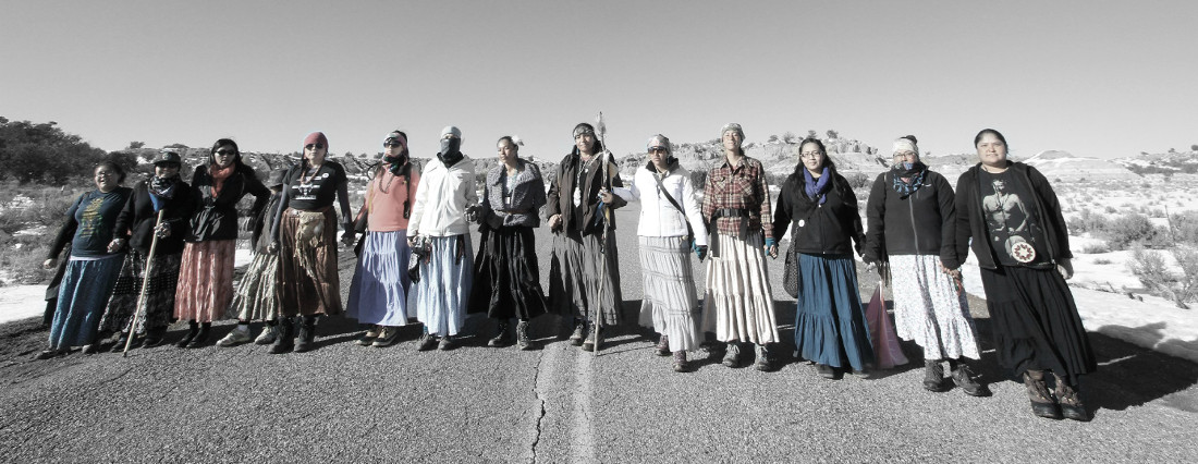 """Navajo """"walkers"""" against fracking. Photographed by Matika Wilbur for Project 562."""