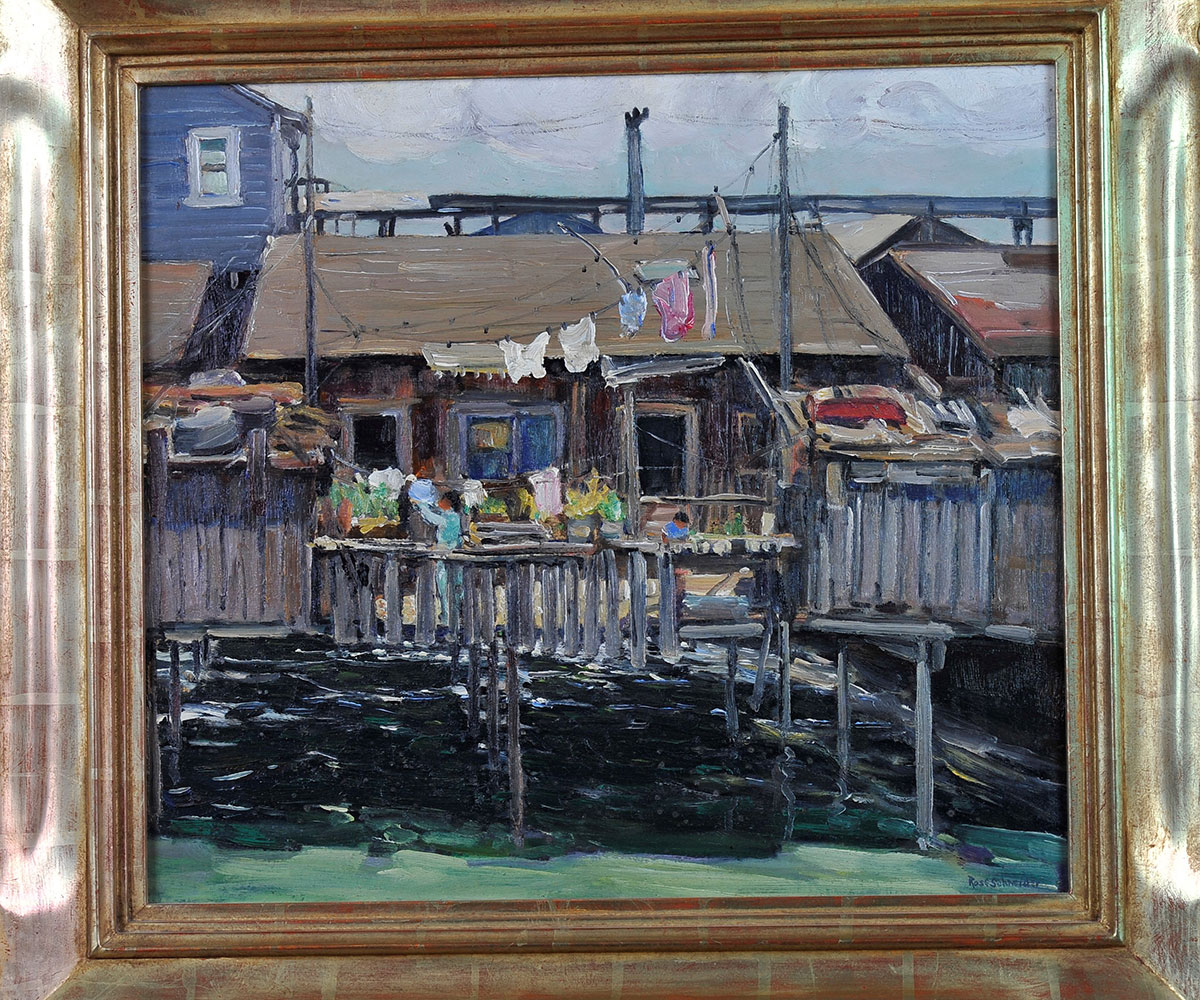 "Rose Schneider, ""Untitled-Shacks,"" San Diego Harbor, 1935, oil on canvas 