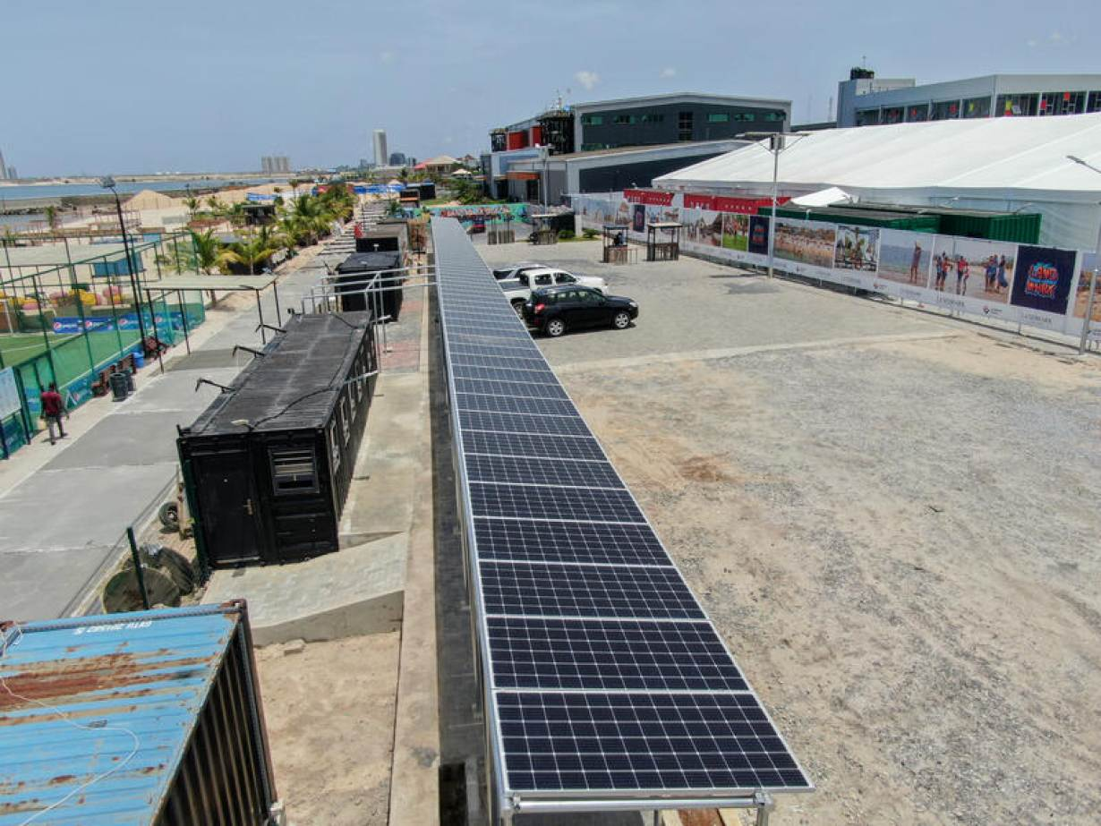 A view shows solar panels installed by Arnergy Solar Limited at an isolation center for the coronavirus disease (COVID-19) patients in Lagos, Nigeria, May 1, 2020. | Arnergy Solar Limited/Handout via REUTERS