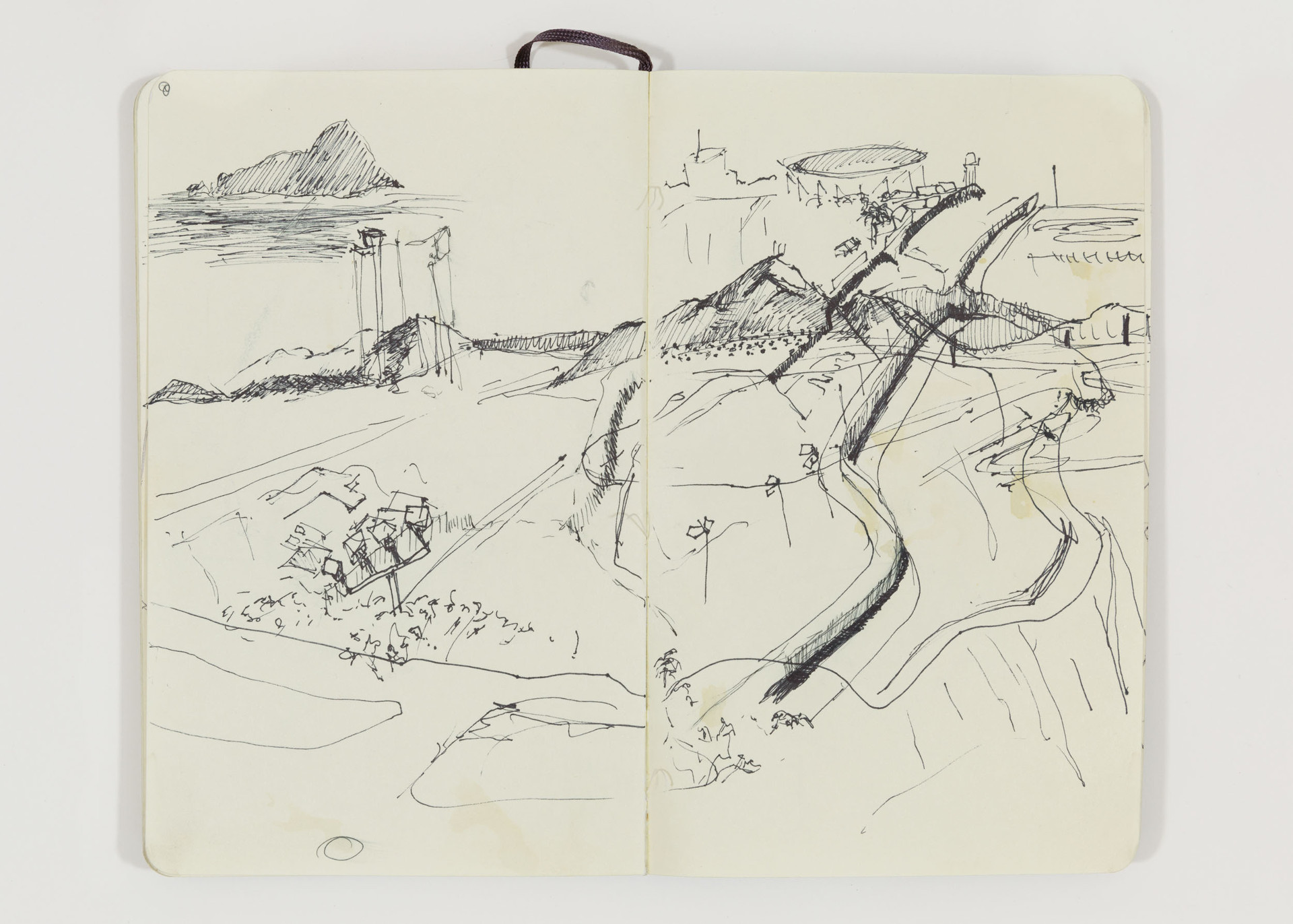 """Nichole Speciale, """"View from Bunk Hill Looking West,"""" U.S.-Mexico Border, Border Field State Park, San Diego, CA, 2014. Ink on paper in sketchbook."""