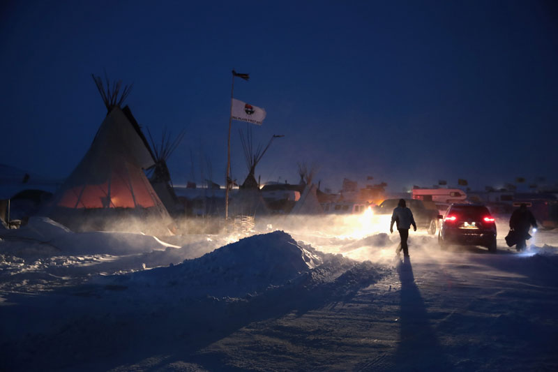 Blizzard at night at Standing Rock