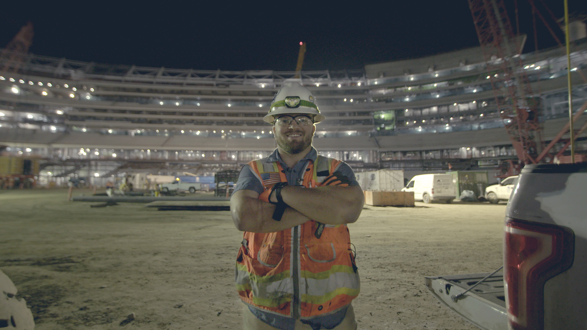"Vincent working building Inglewood's new stadium | Still from ""Nightshift"""