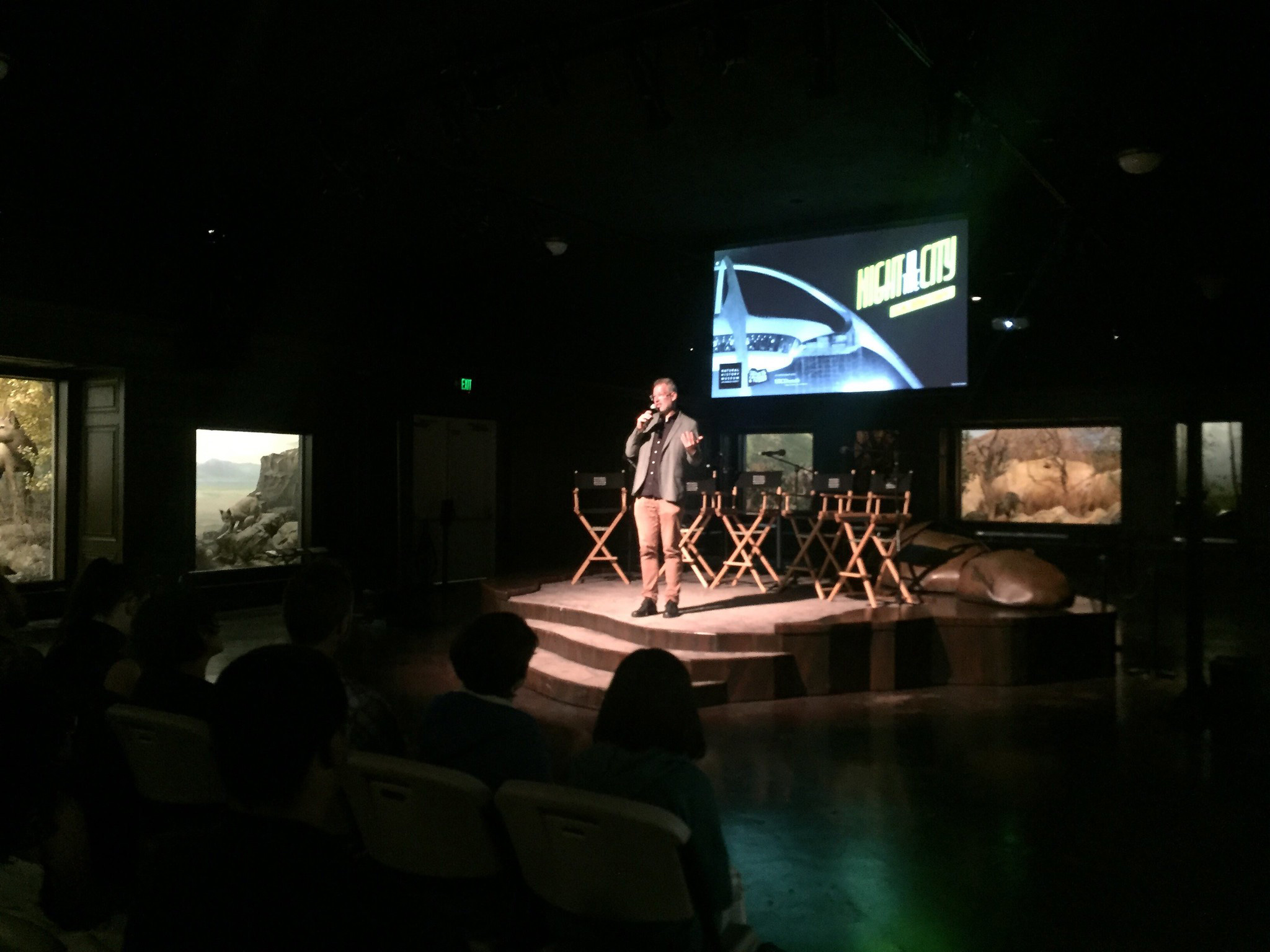 NIGHTSHIFT director, David Grabias, welcomes attendees to the premiere at the Natural History Museum on October 15, 2019.