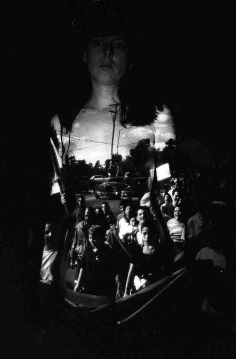 """""""Re-Membering: Viva Zapata March"""" (1994), performative self portrait, black and white photo, 1999   Sandra de la Loza"""