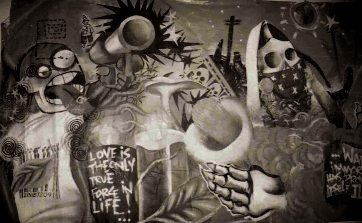 """Love is the Only True Force"" mural by Nuke, black and white photo, 1999   Sandra de la Loza"