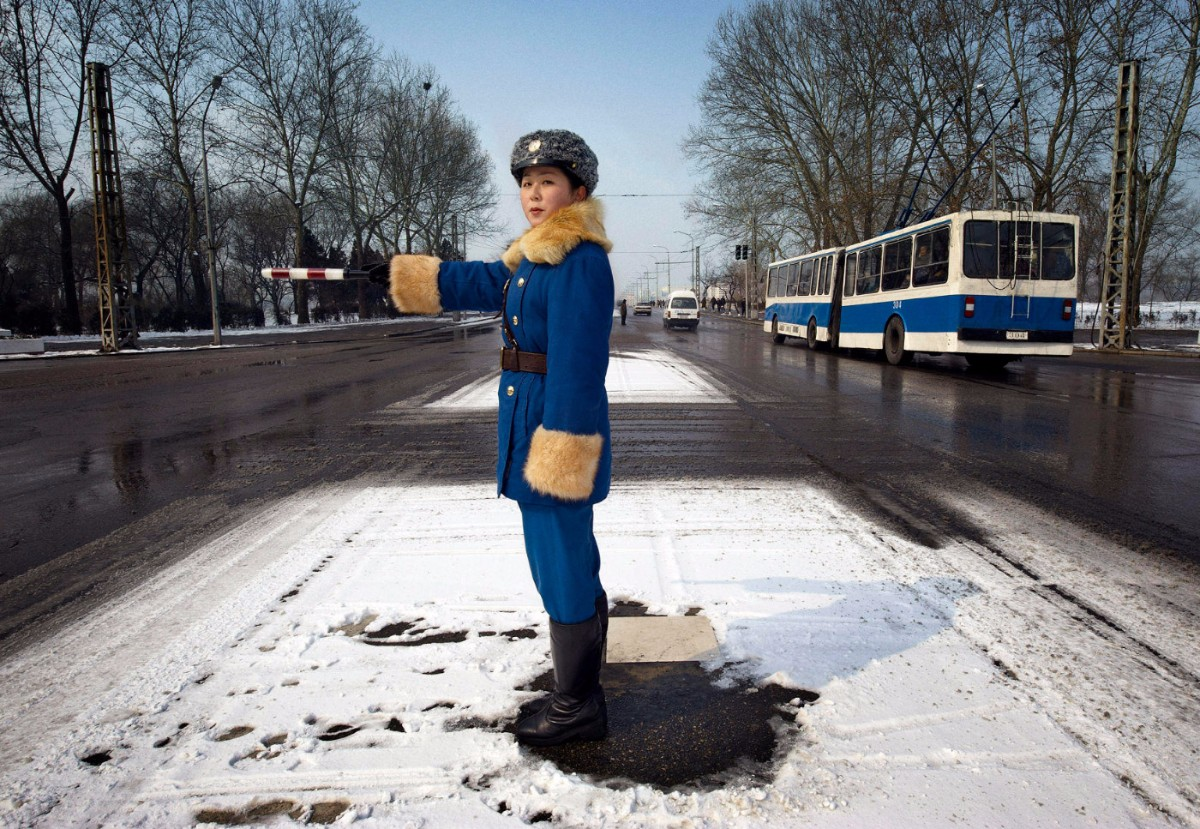 A traffic officer in uniform. Pyongyang, North Korea | Mark Edward Harris / Getty Images