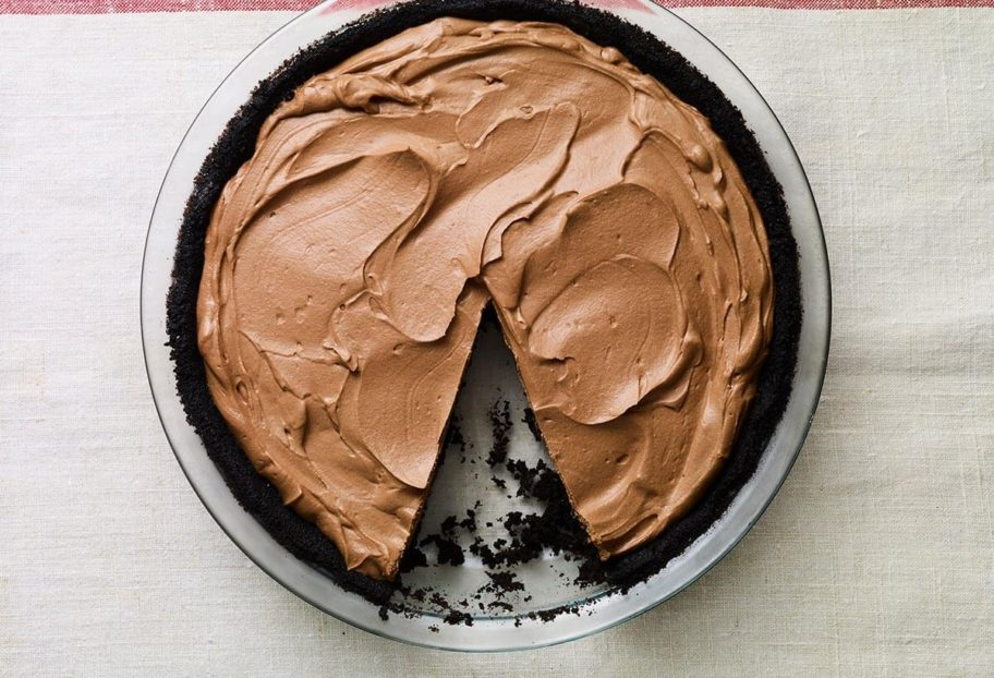 """A No Bake Chocolate Pie with a slice missing.   From """"Pati's Mexican Table: Season 5, Episode 12"""""""