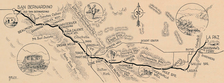 Norton Allen's map of the old Bradshaw Trail, a gold road that traveled just south of today's I-10 heading east toward Blythe. | Courtesy of Ethel Allen