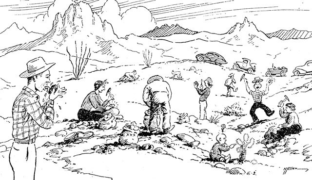 Norton's 1947 cartoon of rock hunters. The man at left is tasting a specimen for mineral content. | Courtesy of Ethel Allen