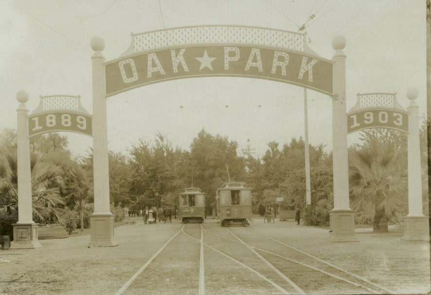 Oak Park in Sacramento, showing trolley cars, ca.1900. / USC Digital Library