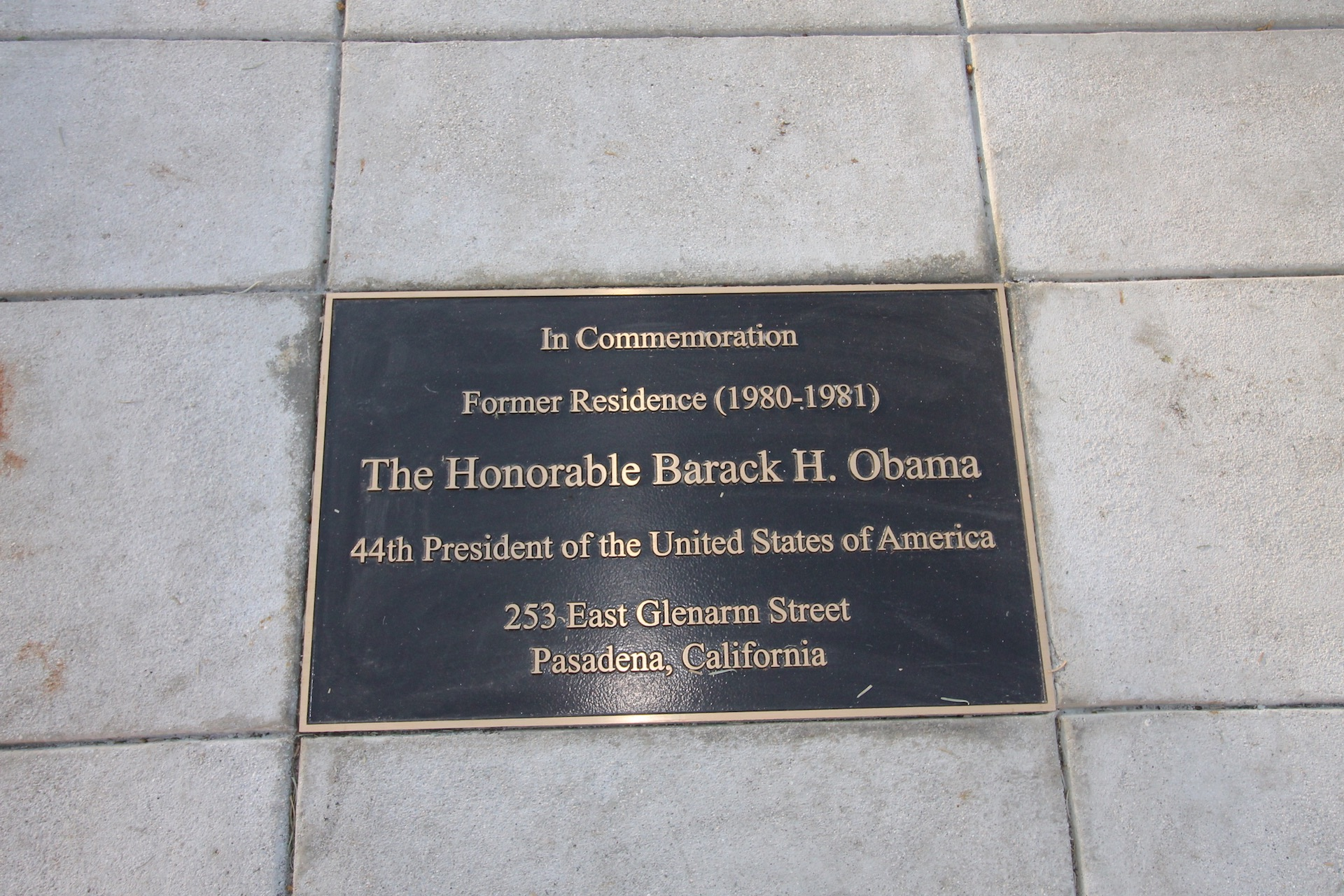 The City of Pasadena placed a plaque in front of the apartment building where President Obama lived in Pasadena (2017).
