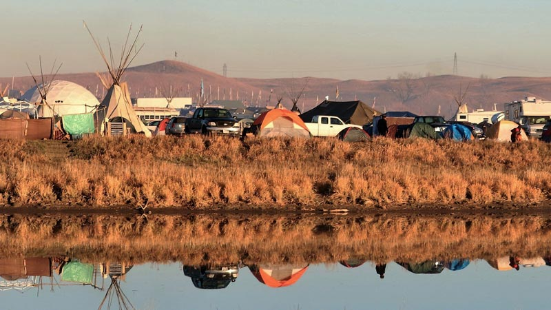 Tents along the Cannonball River, Standing Rock