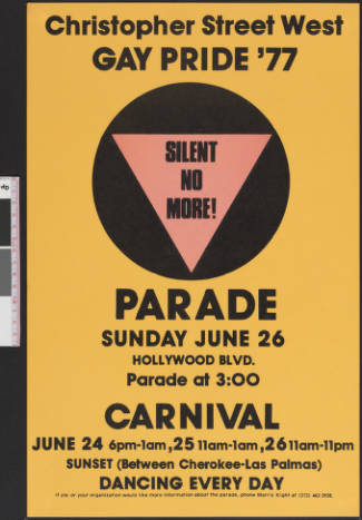 Christopher Street West gay pride poster, 1977.   Christopher Street West/Los Angeles, ONE National Gay and Lesbian Archives, USC Libraries