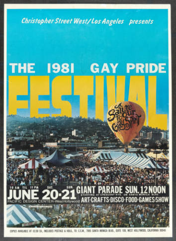 """Christopher Street West/Los Angeles presents the 1981 gay pride festival featuring the words """"A salute to our gay spirit,"""" poster.   Walker & Meyers, Christopher Street West/Los Angeles, ONE National Gay and Lesbian Archives, USC Libraries"""