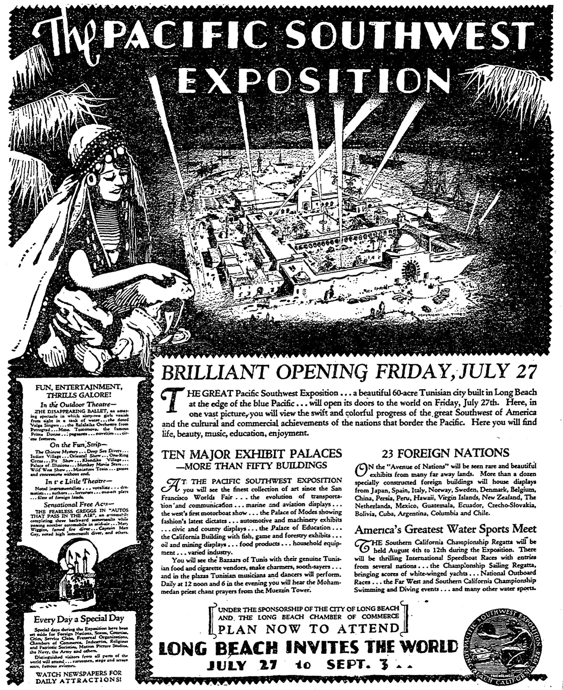 Opening Day. The exposition was part trade show, part carnival, and part Hollywood extravaganza performed at the hectic pace of the Jazz Age. Advertisement from the author's collection