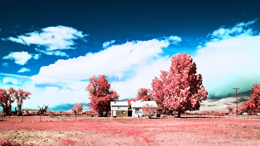 Boarded-Up Farm House - Color/Infrared Exposure - Bishop, CA - 2016 | Osceola Refetoff