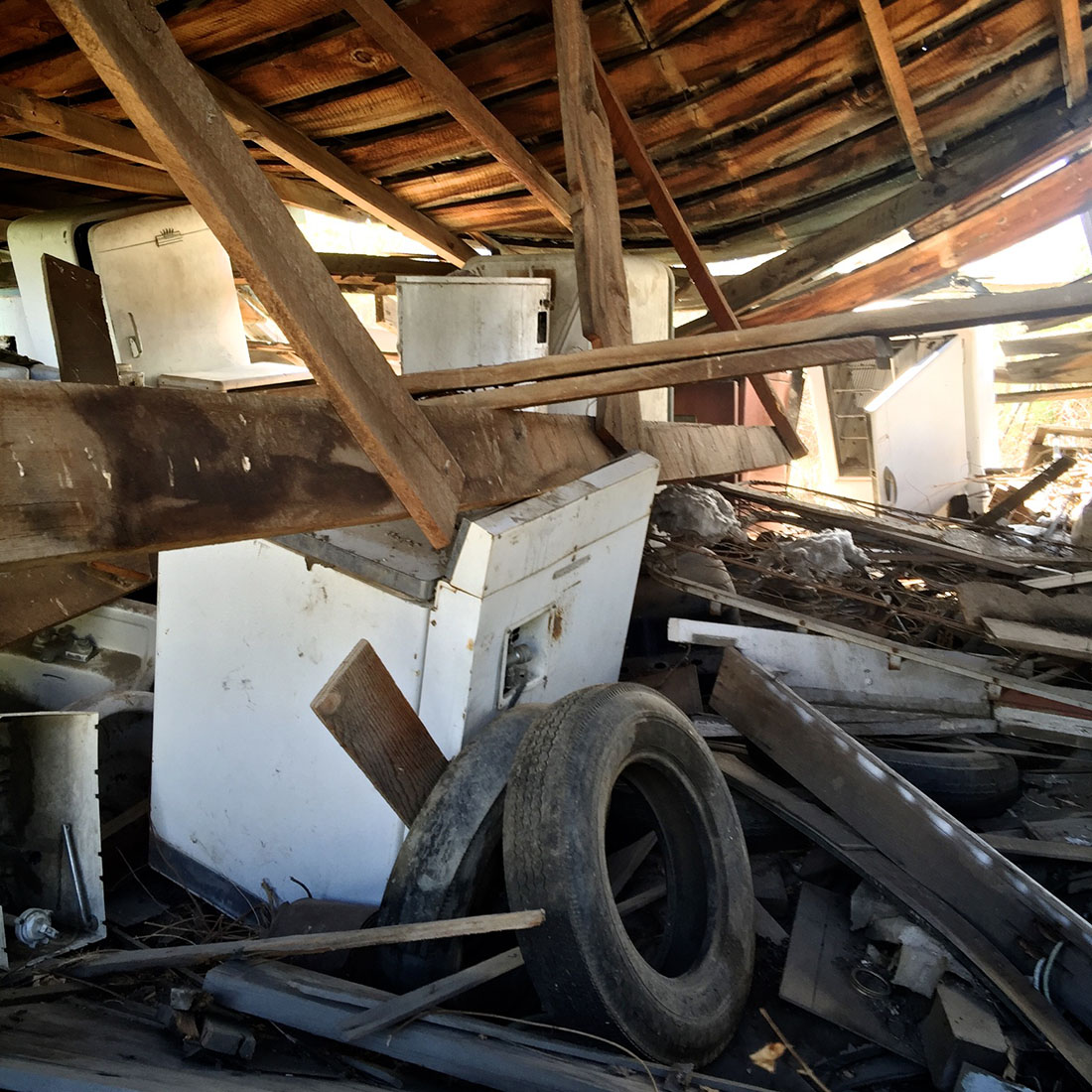 Collapsed Building with Hoarded Appliances and Tires - Bishop, CA - 2016 | Osceola Refetoff