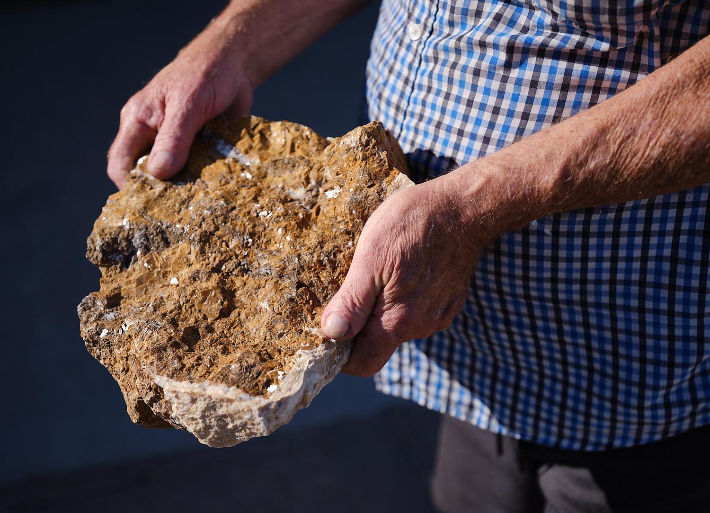 Gail Austin holds limestone specimen. | Osceola Refetoff