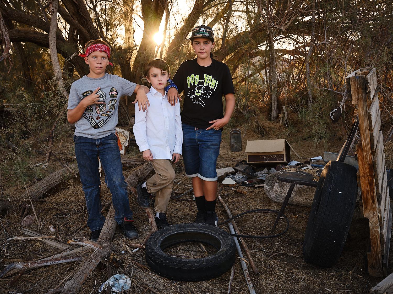 Jim, Windle and Maddie standing behind Elks Lodge, Trona, Ca. | Osceola Refetoff