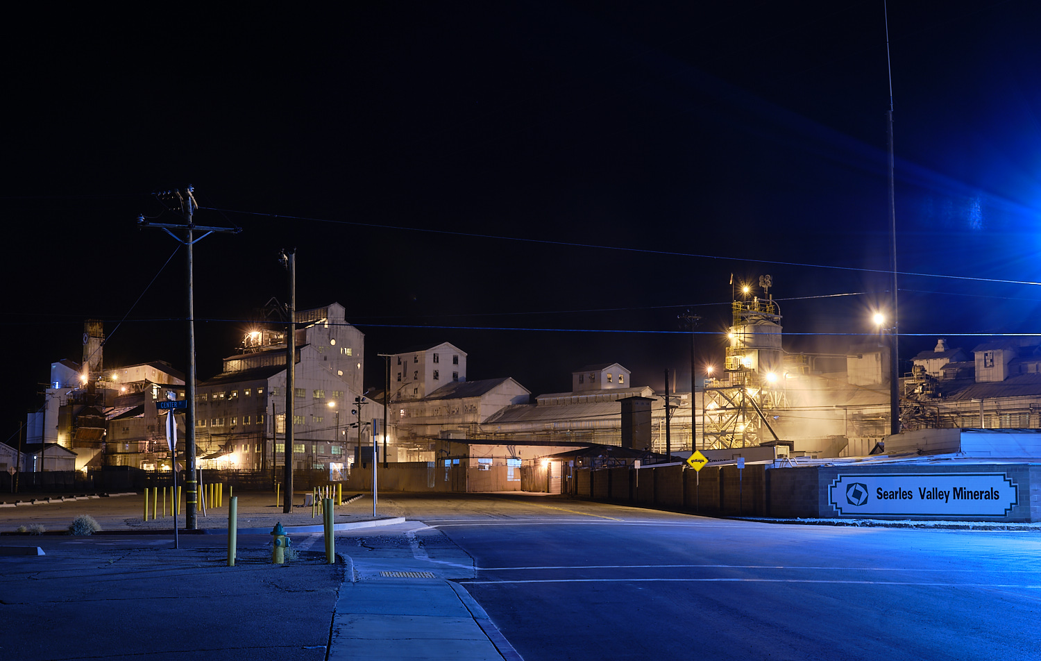 Night shot of Searles Valley Minerals Plant, Trona, Ca. | Osceola Refetoff
