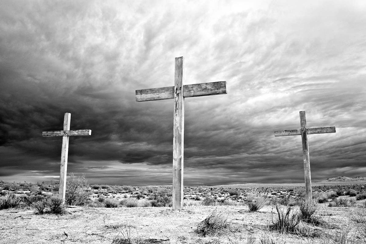 Three Crosses - Infrared Exposure - Rosamond, CA - 2013 | Osceola Refetoff
