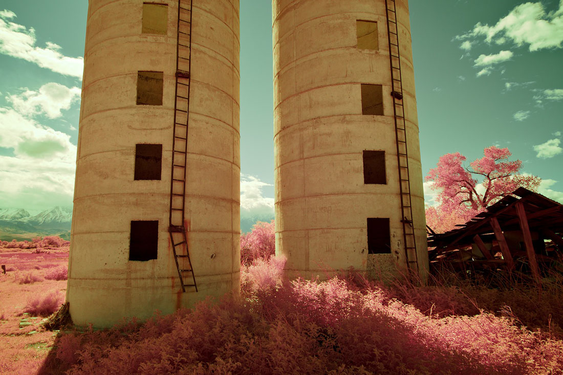 Twin Silos, Collapsed Building & Pink Foliage - Color/Infrared Exposure - Bishop, CA - 2016 | Osceola Refetoff
